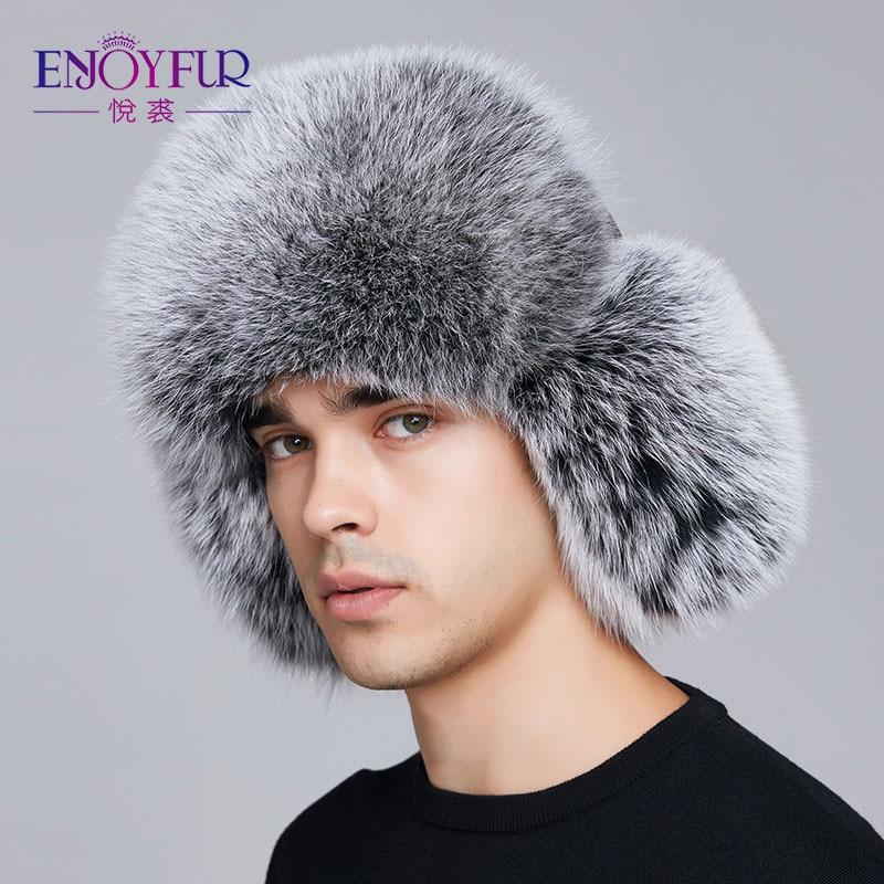 59443532204 Dropwow ENJOYFUR winter hat earflap men real fox fur hats russian ...