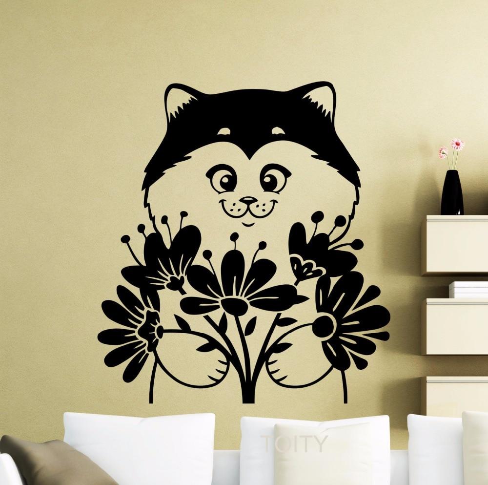 Kitten with Flowers Wall Sticker Cute Kitty Pets Cat Vinyl Decal ...