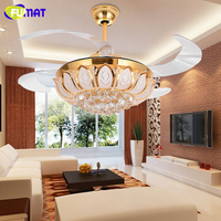 FUMAT Crystal Invisible Retractable Ceiling Fans LED Light Ceiling Lights Ceiling Lamp For Foyer Bedroom Energy Remote Control
