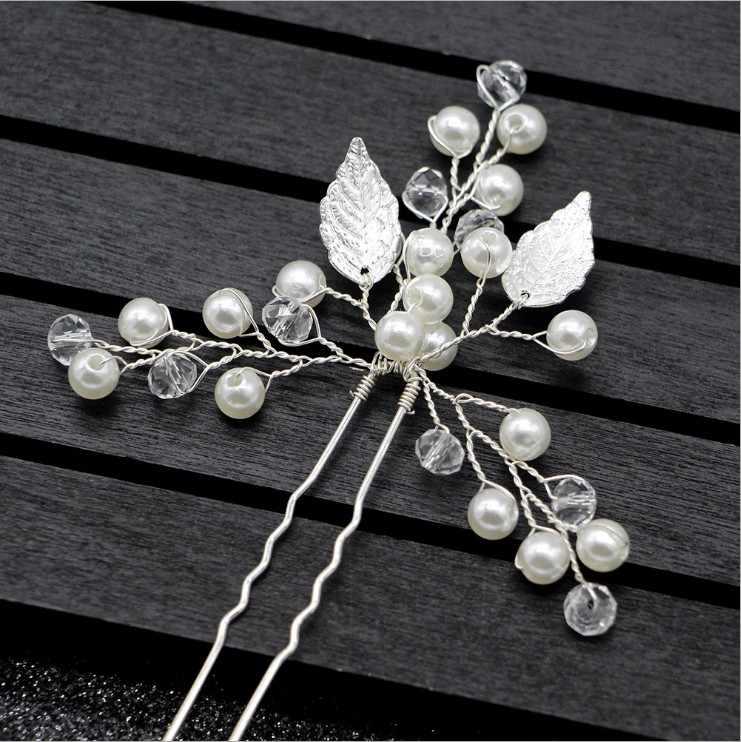 Cristal flor folha u forma varas de cabelo pérola clipe do vintage pinos acessórios para o cabelo casamento strass noiva cabeça peça