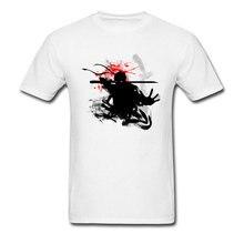 Japanese Ninja Bushido White Print T Shirts Apparel Man Short Sleeve Tee The Silent Fencer Swordsman Cool Design T-Shirts