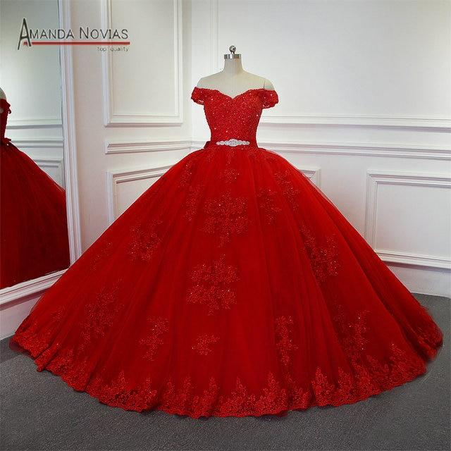 חתונת שמלת 2019 אדום כלה שמלת כדור שמלת נסיכת שמלות