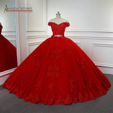 AMANDA NOVIAS Wedding Dress 2019 Red Ball Gown Dresses