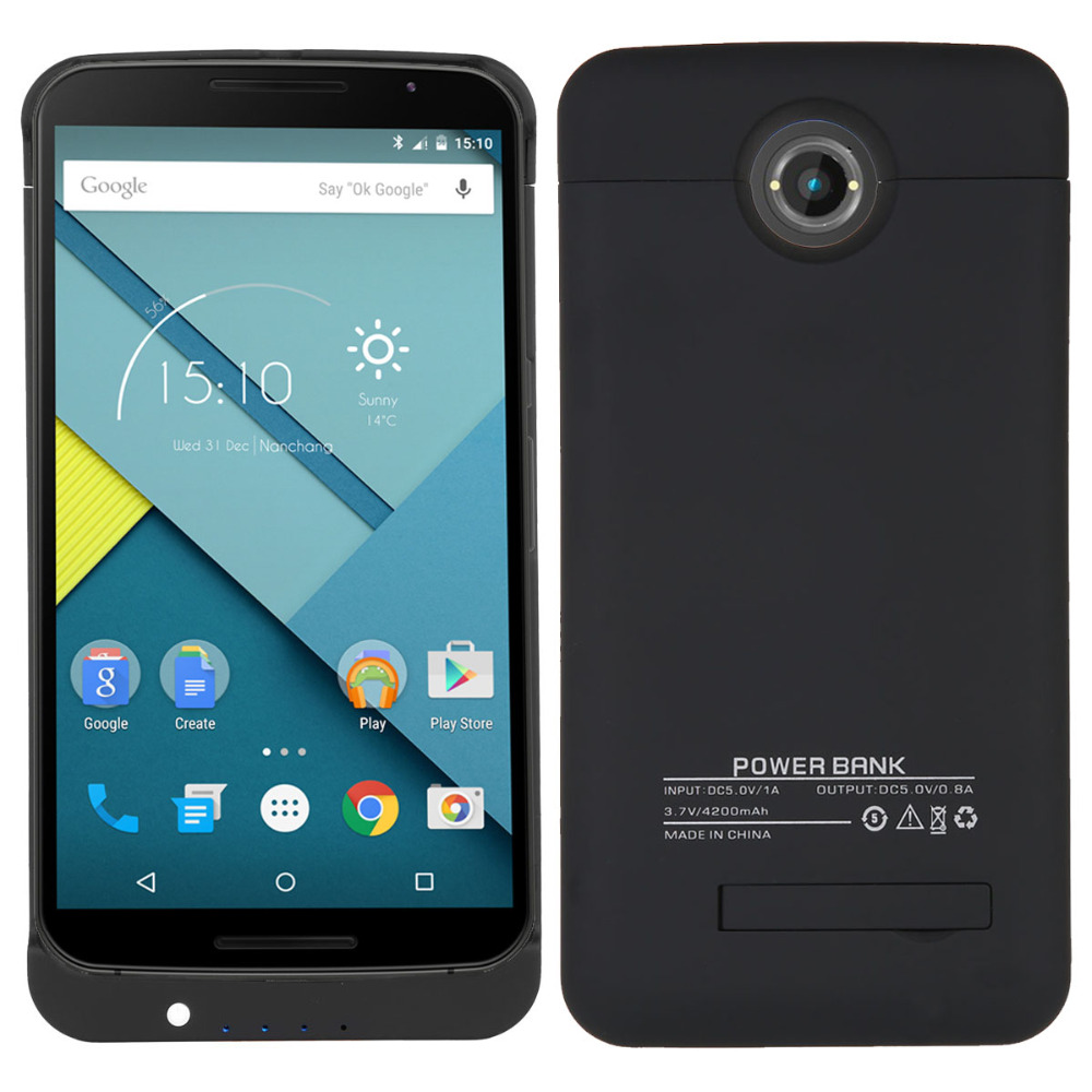 Цена за Новый 4200 мАч Внешняя Батарея Резервного Копирования для Nexus 6 Зарядное Устройство Крышки Случая Обновления Банк Питания аккумулятор телефона Зарядки Защиты Случае