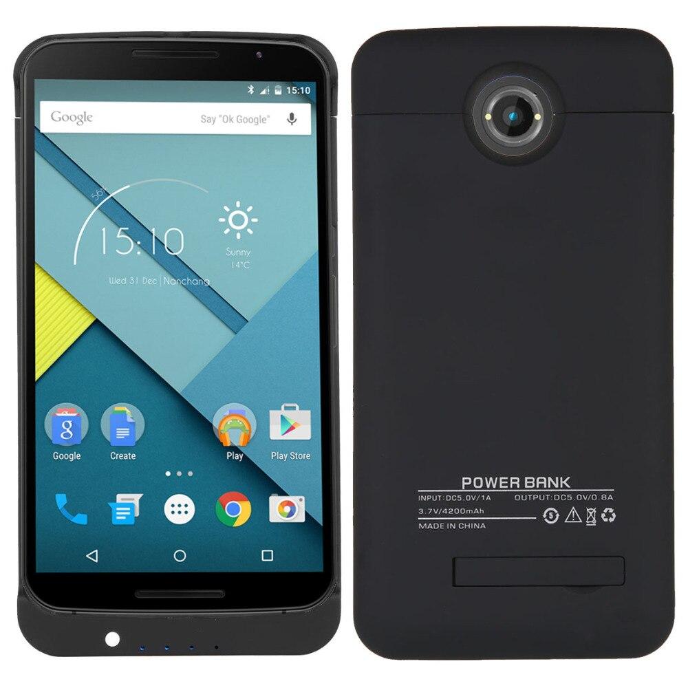 imágenes para Nueva 4200 mAh Batería de Reserva Externa para Nexus 6 Caso de la Cubierta Paquete Power Bank Cargador del teléfono Protege el Caso de Carga de la batería