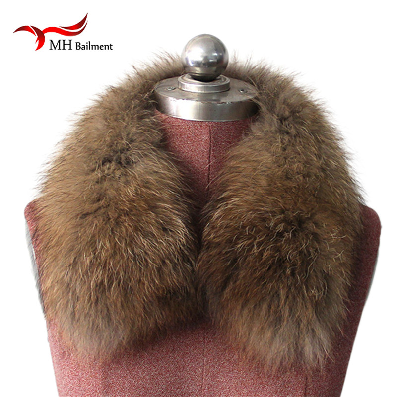 Winter Real Natural Raccoon Fur Collar & Womens Scarfs Fashion Coat Sweater Scarves Collar Luxury Raccoon Fur Neck for Cap L#10