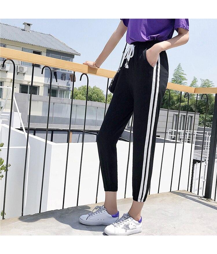 Women Pants Casual Sports Jogging Bottoms Side Stripe Drawstring Sweat Trousers Women Loose Elastic Waist Sportswear Pants 30
