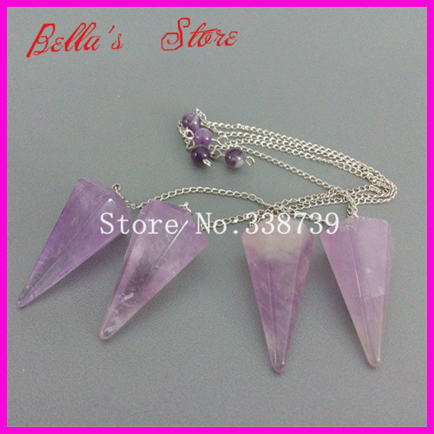 5pcs Natural Faceted Cone Pendulum with Silver Color Chain Pendants,6mm Purple Quartz Round Beads Hypnosis Pendant 17x35mm image