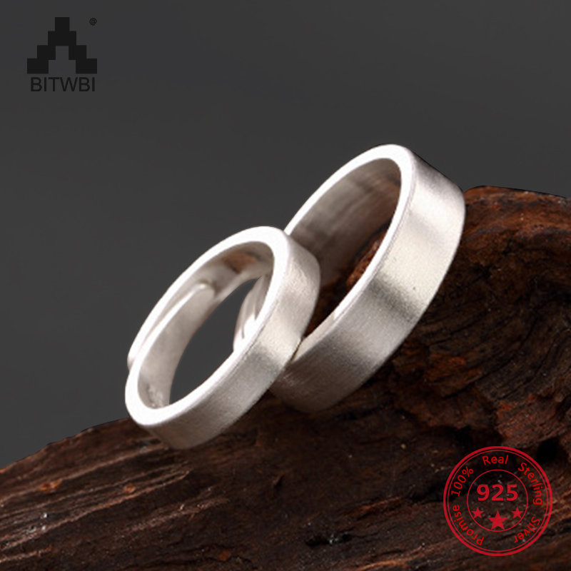 Drop Shipping Korea Hot Style 925 Sterling Silver Simple Rings Concise Fashion Men Women Couple Ring Open Ring Jewelry