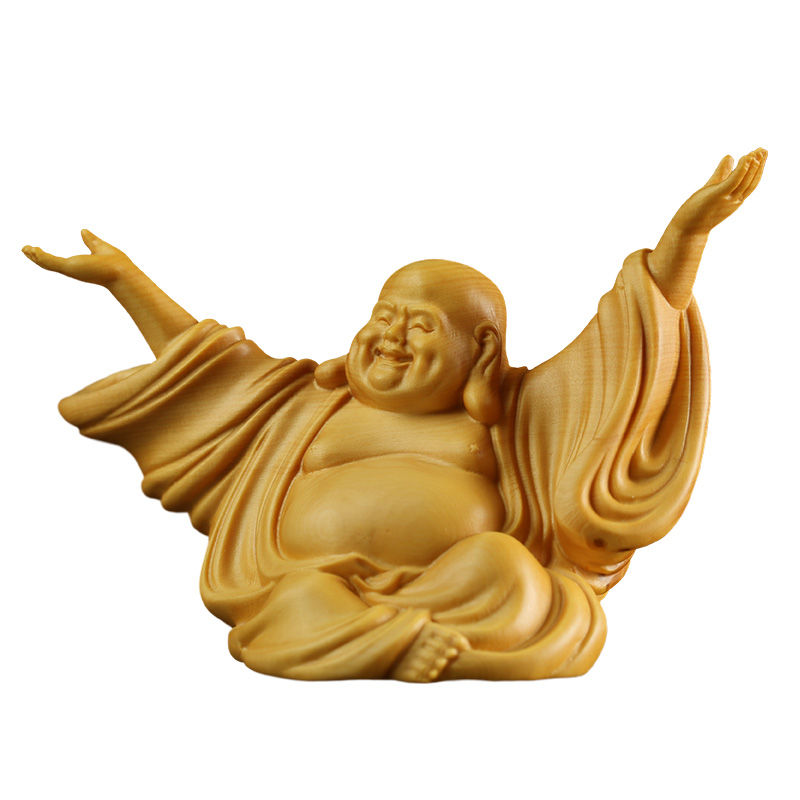 6cm Laughing Buddha Maitreya  Statues Holy Statue Happy Joy Wood Carving Home Zen Small Wall Ornaments  Craft Gift