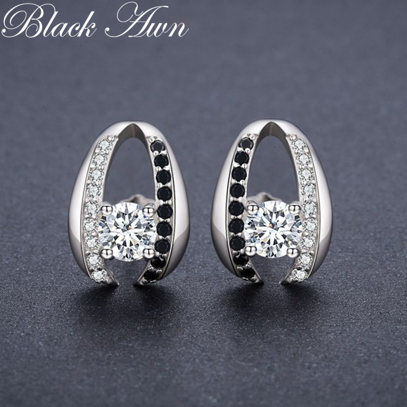 Casual 100% Genuine 3.2g 925 Sterling Silver Jewelry Black&White Stone Anniversary Stud Earrings For Women T072