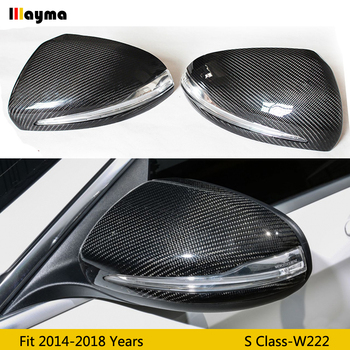 Carbon Fiber vervangen Spiegel cover Voor Benz S klasse S300 S400 S500 2014-2018 jaar W222 AMG Styling Auto achteruitkijkspiegel cap 1 paar LHD