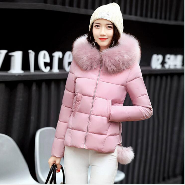 Cotton short 2017 new winter Korean version of the fashion elegant Slim Wild large fur collar hooded large size down jacket free shipping new arrival 2015 ladies korean version of cultivating all match thickening cotton vest with fur collar