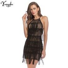 2018 New Arrivals Sexy Sequins Summer Slash Neck Midi Dress Women Backless Bandage Tassel Elegant Nightclub Party Mini Dresses