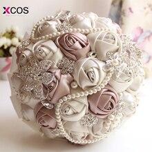 Великолепный вышитый бисером Кристалл Свадебный букет цвета слоновой кости розы невесты цветы искусственный сапфир жемчуг свадебные букеты