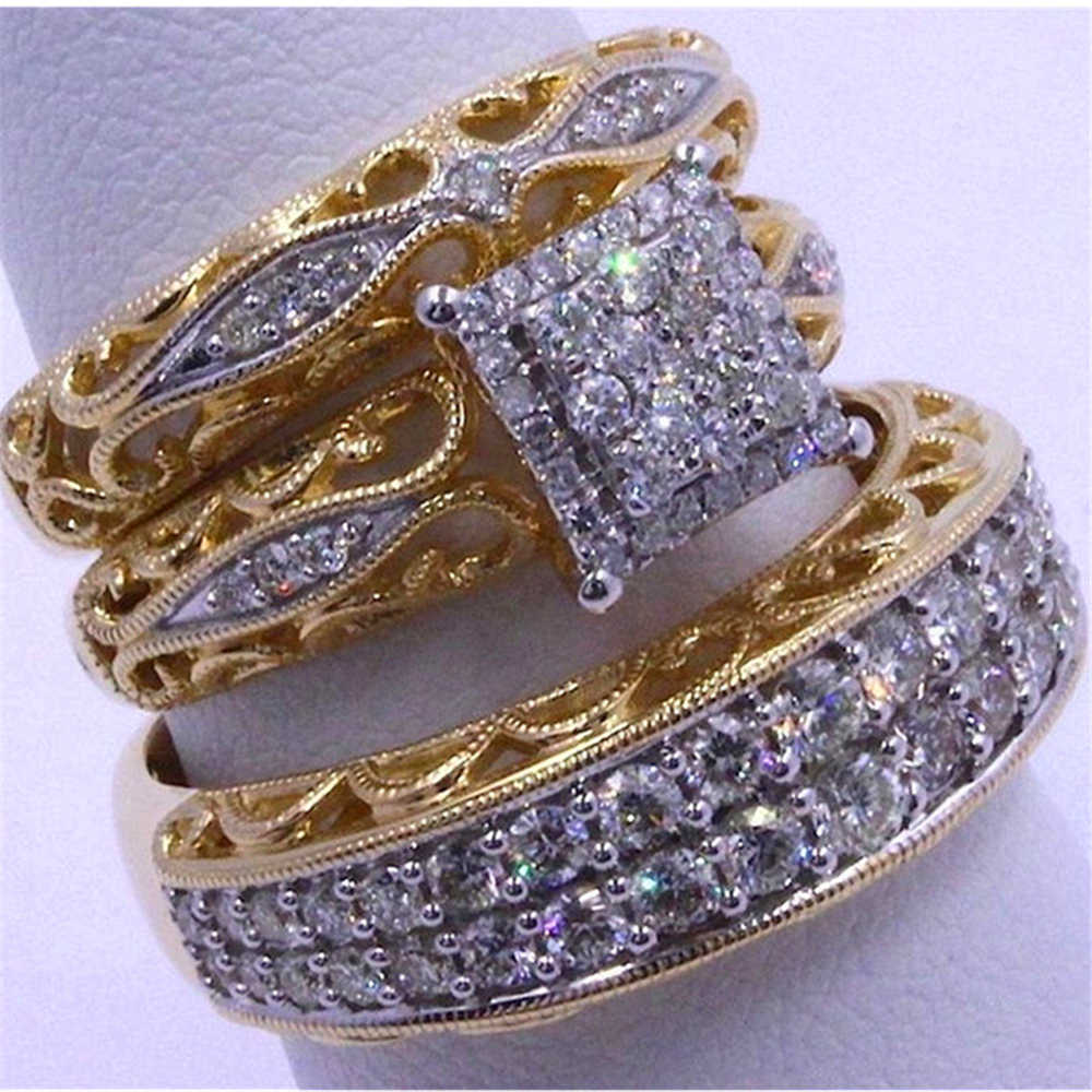 LOREDANA 3 pieces/set of fashionable and colorful zircon inlaid metal ring with hollow process, suitable for party wedding.