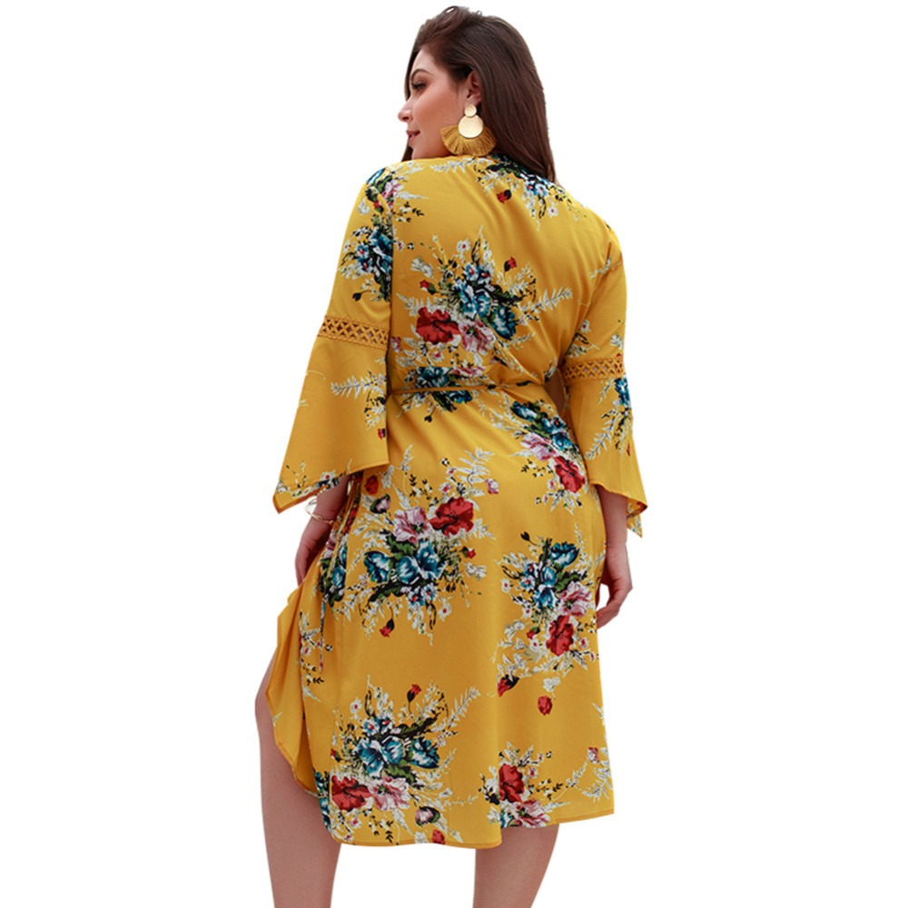 WHZHM Chiffon Full Flare Sleeve High Waist Loose Plus Size 3XL 4XL Dress Women Flower Casual Summer Deep V Neck Sashes Dress-in Dresses from Women's Clothing    2