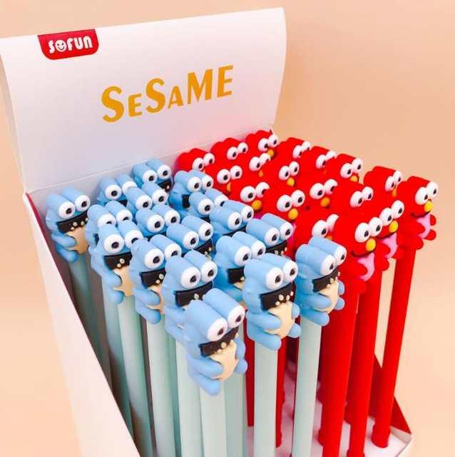 4 Pcs/set Cartoon Anime Sesame Street Frog Elmo Silicone Gel Pens Signature  Pens Stationery School Office Supplies Gifts