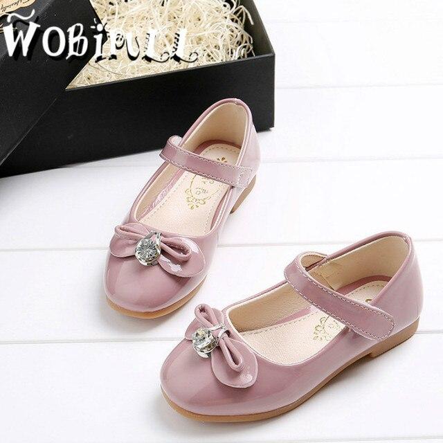 WOBIPULL 2017 spring children dress shoes Kids girl flower leather shoes meisjes schoenen bow princess dance shoes sneakers26-36