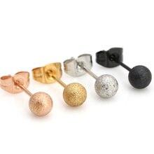 Moda feminina masculino cor rosa ouro preto titânio aço geada mini bolas brincos de orelha piercing jóias 3/4/5mm