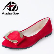 AD AcolorDay Mocassins Women Ballet Flats Solid Flock Spring Summer Pointed Toe Slip on Women Casual Shoes Cheap Ladies Shoes