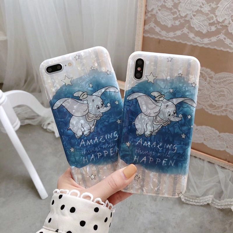 Cartoon Flying Elephant Conch Shell Phone Case For iphone Xs MAX XR X 6 6s 7 8 plus Soft TPU back cover Capa fundas in Fitted Cases from Cellphones Telecommunications