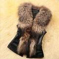 S-XXXL Black Brown Big Fur Collar Women Sleevelss Fringe Vest Faux Leather Patchwork Slim Short Vest Back Bow Fur Gilet J52