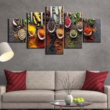 5 piece kitchen food canvas painting Picture wall picture panels spices living room art pictures