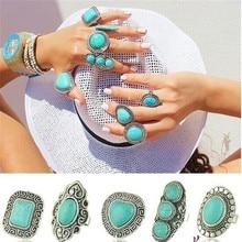 Ретро античное серебро Тибет серебро натуральный синий турецкий камень кольцо регулируемое Винтажное кольцо в стиле панк