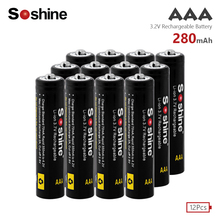 12Pcs original SOSHINE LiFePO4 AAA 10440 battery 280mAh 3.2V rechargeable batteries For Led Flashlight Remote Control soshine rechargeable 1800mah lifepo4 18650 batteries black 2 pcs