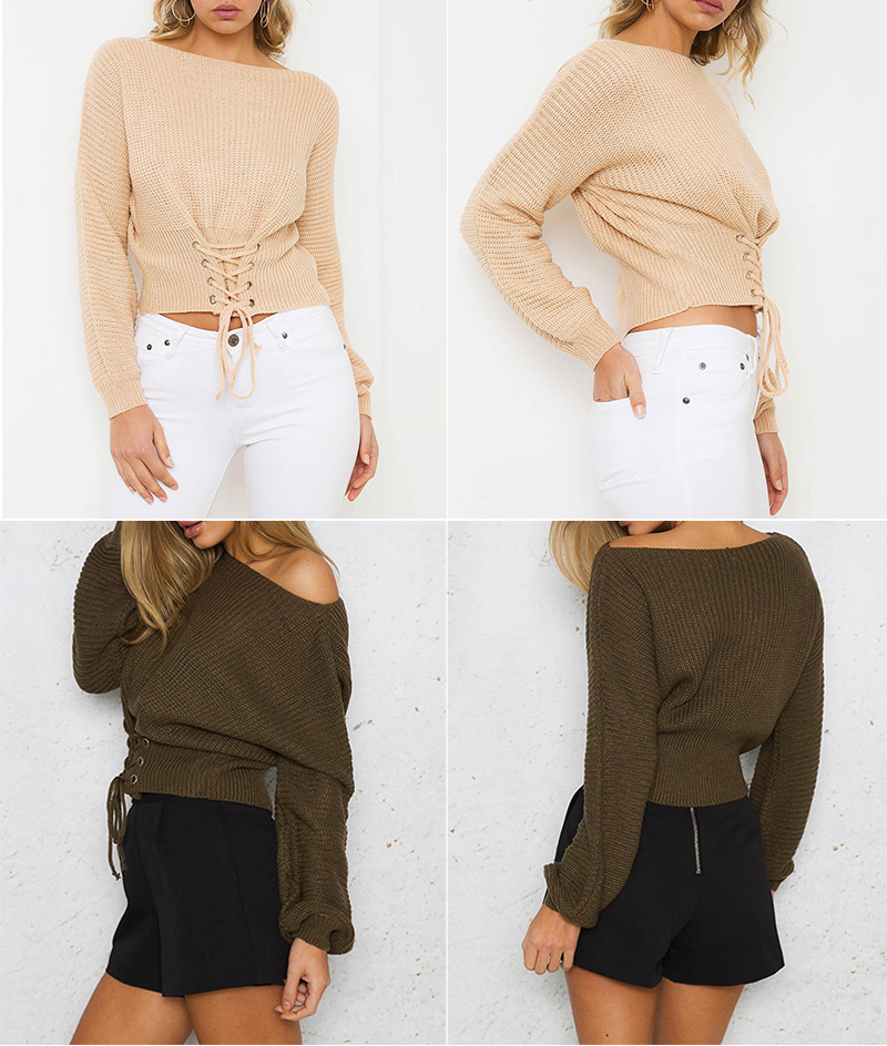 NLW Lace Up Crop Casual Women Sweater 19 Autumn Winter Knitted Pullovers Long Sleeve O Neck Loose Jumper Top Bandage Sweater 3