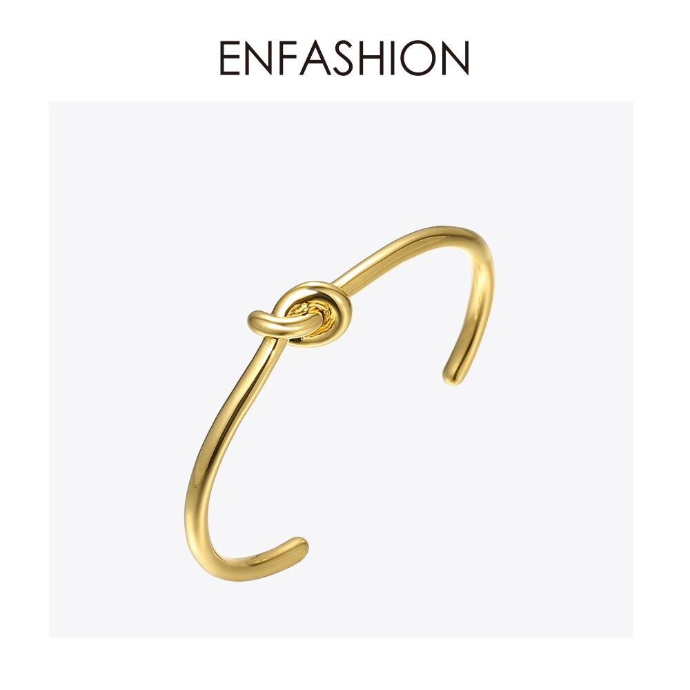 Enfashion Atacado Knot Cuff Bracelet Manchette cor de Rosa de Ouro Pulseira Para As Mulheres Pulseiras Pulseiras Pulseiras