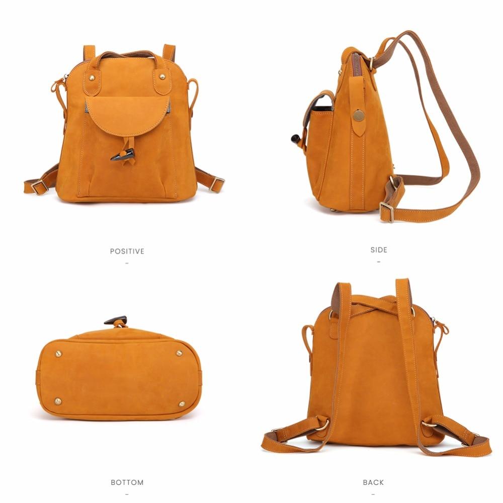 JOYIR di Modo Del Cuoio Genuino delle donne zaino dell'annata marrone della ragazza della scuola del sacchetto di spalla zaini signore di shopping borse da viaggio 3011 - 2