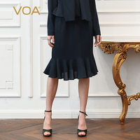 VOA Heavy Silk Office Mermaid Skirts Women Midi Skirt Solid Navy Blue Summer Ruffles Plus Size 5XL Basic Formal Brief C362