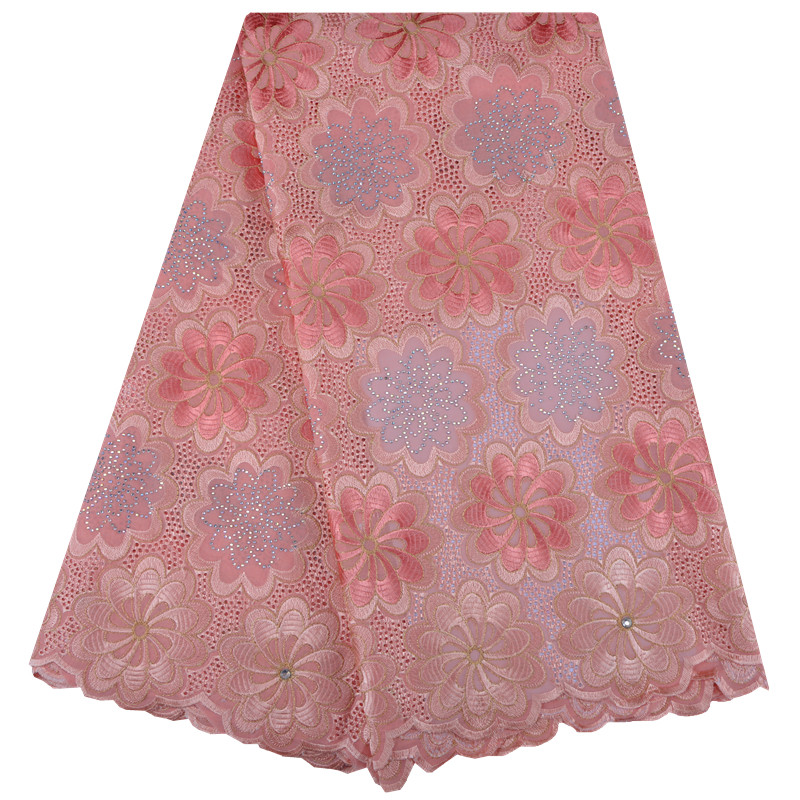 Swiss Cotton Voile Lace Peach Lace Fabric With Stones African Swiss Lace Fabric For Wedding Dress