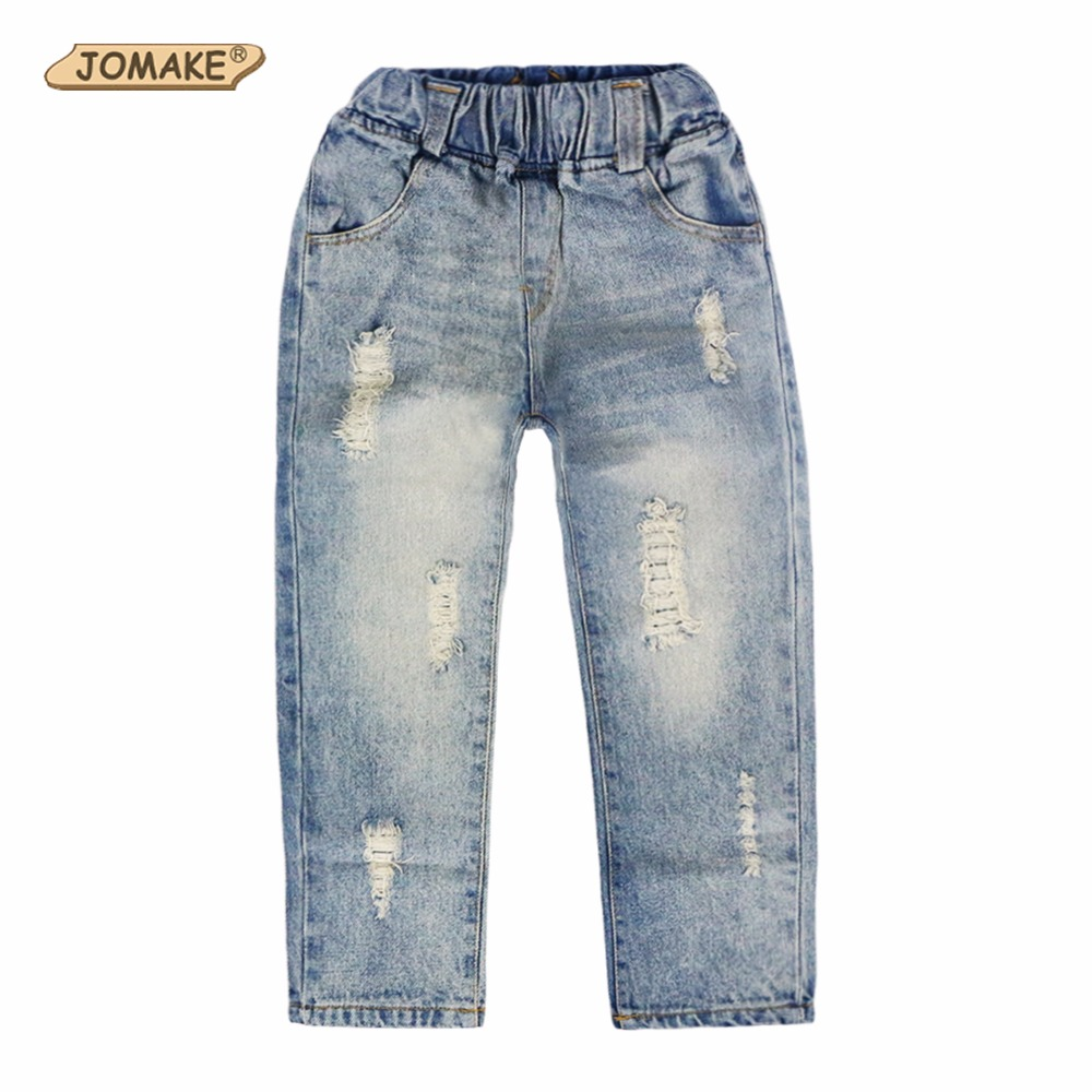2017 New Style Girls Jeans Kids Clothes Children Clothing Boys Jeans Casual Elastic Waist Fashion Ripped Denim Pants Trousers