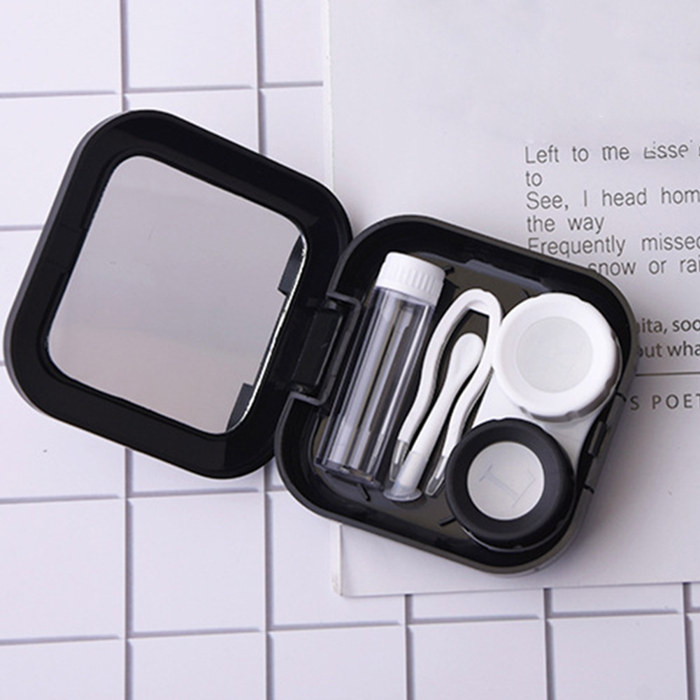 Portable Contact Lens Case Kit Holder Contact Lenses Box Tool Set Moon Star Space With Mirror For Women