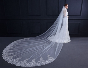 Image 2 - Velo de novia con borde de encaje, velo de novia con borde de encaje blanco marfil de 3 metros, accesorios de boda