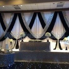 10 футов x 20 футов белый свадебный фон занавес с черным цветом и серебряная ткань с блестками драпировка для украшения Wdding