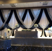 10ft x 20ft White Wedding Backdrop Curtain With Black Color And Silver Sequin Fabric Drape Swag For Wdding Decoration
