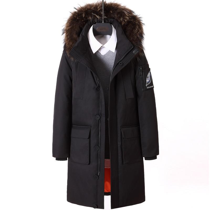 New   Down   Jacket Men Warm 90% White Duck Winter Outwear   Coat   Fur Collar Hooded   Down   Parka Fashion Thicken   Coats   Jackets Masculino