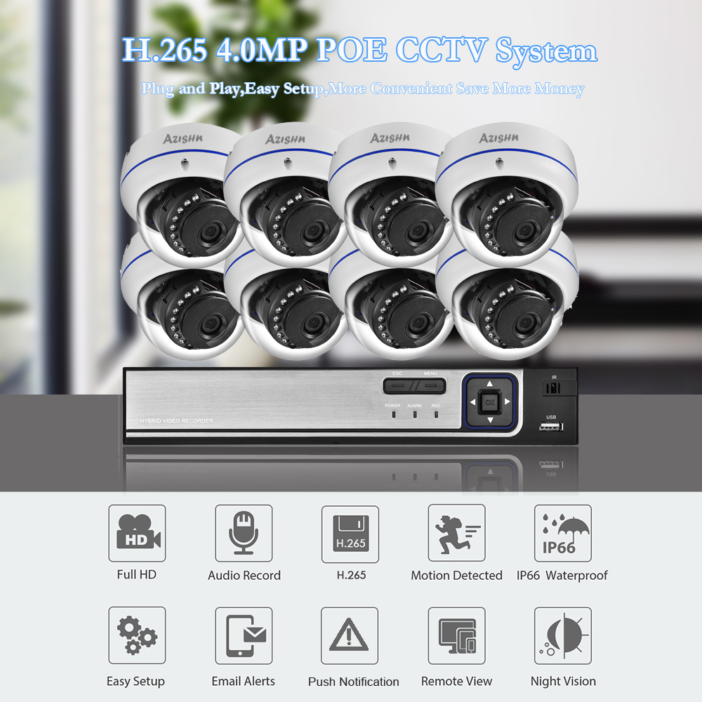 Image 2 - AZISHN Explosion proof H.265 8CH 4MP POE Security Camera System NVR Kit Audio IP Camera Indoor Outdoor CCTV Surveillance NVR Set-in Surveillance System from Security & Protection