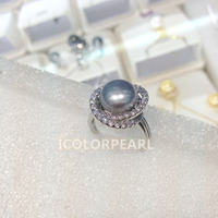 Natural White/Grey Semiround Freshwater Pearl Ring With Crystal Ring( Open Size,adjustable)