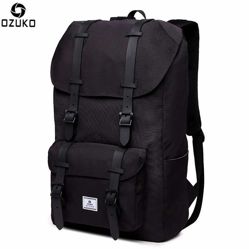 Ozuko Multifunction USB Men Laptop Backpacks for Teenager Fashion Male Casual Bagpacks Large Capacity Travel Backpack 31*17*48cm