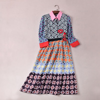 Women Dresses 2018 High Quality Women Runway Dresses Embroidery Flower Printed Casual Dresses DX0590A