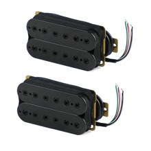 FLEOR Set of Humbucker Pickup Electric Guitar Pickup Neck Bridge Set Ceramic Magnet Guitar Parts, Black / White Choose