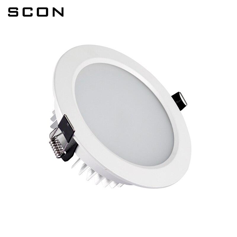 SCON AC110-240V гостиной круглый водонепроницаемый Светодиодные светильники 3inch9W OSRAM Чип украсить встраиваемые потолочный светильник 3000 К 4000 К 6000 ...