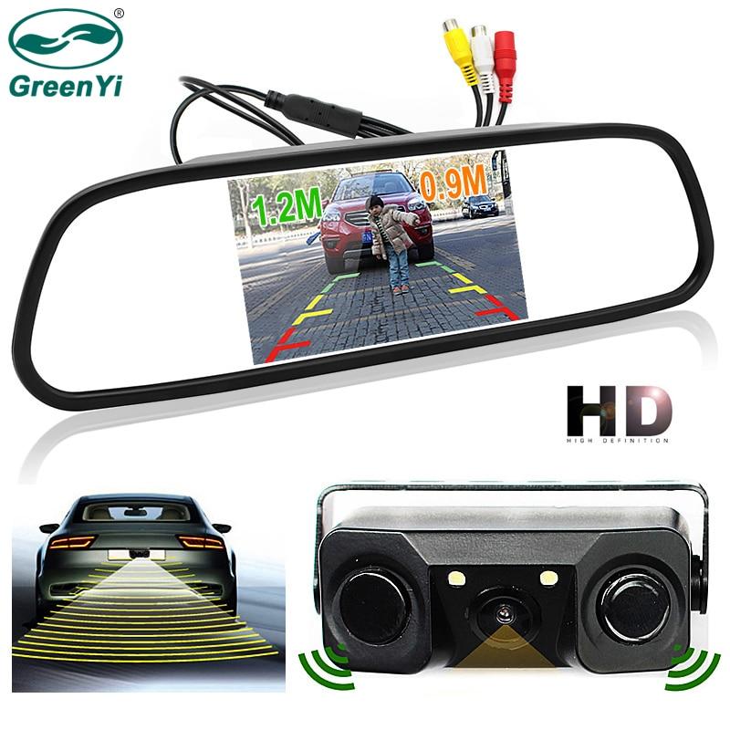 цена на GreenYi Car Backup Reverse Rearview Camera with LEDs and Radar Sensors + 4.3 Car TFT LCD Rear View Mirror Monitor