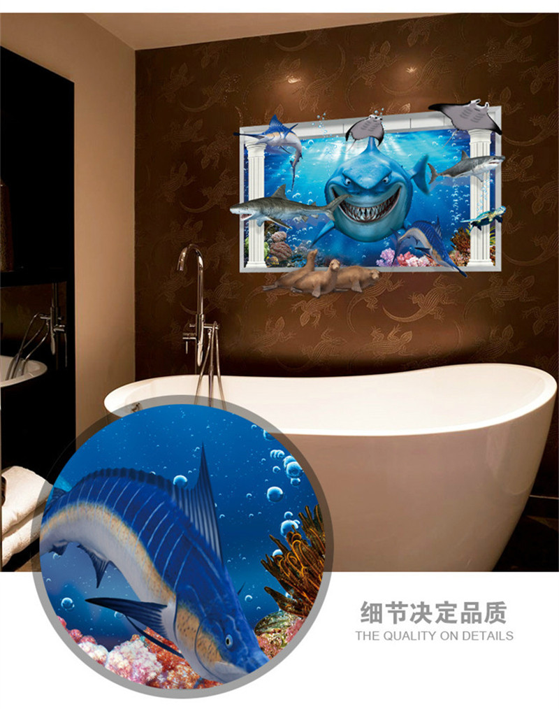 Shark is coming whale dolphin animals blue sea world ocean 3d shark is coming whale dolphin animals blue sea world ocean 3d window home decals wall sticker vivid bathroom washroom mural in wall stickers from home amipublicfo Gallery