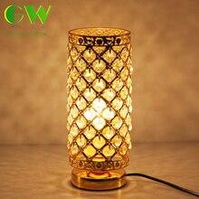 Современный K9 настольная лампа из хрусталя для дома прикроватные Спальня цвет серебристый, Золотой ночник с бесплатной E27 светодиодный лампы